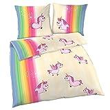 EINHORN Biber Mädchen Bettwäsche  SWEET RAINBOW UNICORN · Regenbogen - Kissenbezug 80x80 + Bettbezug 135x200 cm