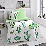 Dormisette Mako-Satin Wendebettwäsche Kaktus 135x200 cm + 80x80 cm