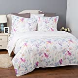 BEDSURE Bettwäsche Blumen 135x200cm Weiß Bettbezug mit Muster Blühen 2-teilig Bettwäsche Set mit Reißverschluss 1 Kissenbezug 80x80cm Super Weiche Atmungsaktive Mikrofaser Bettwäsche