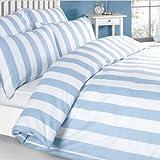 Louisiana Bettwäsche Bettbezug Blau & weiß 100% Baumwolle 200 Fadenzahl Kissenbezug Bettdecke 140x200 cm + 1 x Kopfkissenbezug