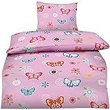 Aminata - fröhliche Teenager Mädchen Bettwäsche 135x200 Schmetterlinge Jugendliche rosa pink blau Schmetterling-Bettwäsche