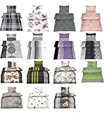 Baumwolle Biber Bettwäsche mit Reißverschluss in verschiedenen Größen und 15 Designs - 4 tlg. Set 2x 135x200 + 2x 80x80 cm Biber Bettwäsche - Sarina Altrosa
