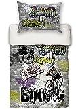 """beties """"Graffiti-Move"""" Jugend Wende Bettwäsche-Set 135x200/80x80 cm digitaler Biking-Druck Feinste Baumwolle Graphit"""