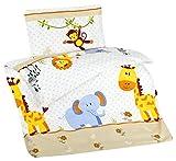 Aminata Kids - Bunte Bettwäsche 100x135 cm Kinder Jungen Mädchen Tiere Baumwolle + Reißverschluss Zootiere Elefant Giraffe AFFE Tiermotiv Kinderbettwäsche Babybettwäsche Bettbezug Kinderbettgröße