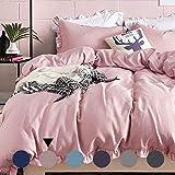 AShanlan Kinder Bettwäsche 135x200cm Rosa mit Rüschen 2-teilig Microfaser Bettbezug Kopfkissenbezug Mädchen Jugendliche Teenager Einzelbett