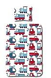 Aminata Kids Kinder-Bettwäsche 100-x-135 cm Bagger BAU-Fahrzeuge Auto-s Betonmischer Baby-Bettwäsche 100-% Baumwolle Renforce Weiss-e bunt-e Junge-n und Mädchen