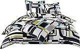 Moderne Mako Satin Karo Bettwäsche schwarz weiß grün 135x200 + 80x80 100% Baumwolle