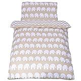 Sevira Kids Kinder-Wendebettwäsche, Motiv Zickzack und Elefanten, 100% Bio-Baumwolle, 2-teilig