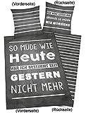 Bettwäsche Young Collection Sprüche, Kopfkissenbezug 80x80cm, Bettbezug 135x200cm, Renforce