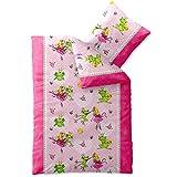 CelinaTex Biber Kids, Kinder Biber Bettwäsche 135 x 200 cm, kuschel warme Winterbettwäsche Baumwolle, Mädchen Princess Prinzessin Frosch rosa pink, 0003067