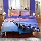 Baumwoll Satin Bettwäsche Wende 135x200cm 4 teilig Maritim Steg Meer violett