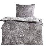 4tlg Baumwoll Bettwäsche Silber Grau 2x 135x200 cm + 2x 80x80 cm mit Reißverschluss NEU ÖKO-TEX Standard
