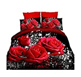 4Piece Hot Rot Rose Bedruckte Bettwäsche Tröster Set 3D Romantische Blume Bettbezug für Doppelbett