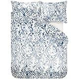 DESIGNERS GUILD Bettwäsche Arabesque Indigo Satin blau-wollweiß Größe 135x200 cm (80x80 cm)