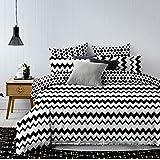 DecoKing 84496 135x200 cm mit Kissenbezug 80x80 schwarz weiß geometrisches Muster Bettbezüge Microfaser Hypnosis Waves Bettwäsche, Polyester, 135 x 200 cm