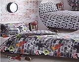 Kidz Club Jugendliche Doppelbett Bettbezug und 2Kissenbezüge Bettwäsche-Set Cool Skateboards und Graffiti Bettbezug Set–Tricks, grau
