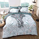 Doppelseitiger Bettbezug mit Elefantenmandala von Pieridae, pflegeleicht, anti-allergen, weich und glatt, mit Kissenbezügen, Polybaumwolle, multi, Doppelbett