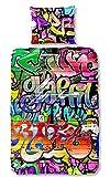 Aminata Kids - Kinder-Bettwäsche-Set 135-x-200 cm Graffiti-Motiv Grafik-Design 100-% Baumwolle Renforce bunt-e Weiss rot grün rosa pink Teenager Jugendlich-e