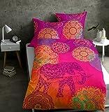 sister s. Renforcé-Bettwäsche Noida Absolut Hip Mandalas Ornamente Glücks-Elefant Orientalische Farbenpracht Pink-Mango-Violett 155x220 cm
