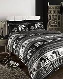 De Cama Empire Indischer Elefant Bettwäscheset, Bettbezug Bettwäscheset, schwarz, Doppelbett